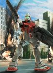colony_interior fire gm_(mobile_suit) gm_command gun gundam gundam_0080 mecha raybar shield smoke solo weapon