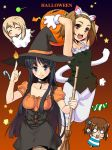 4girls akiyama_mio animal_ears azu cat_ears cat_tail halloween hat hirasawa_yui k-on! kotobuki_tsumugi multiple_girls tail tainaka_ritsu witch_hat