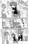 :3 ahoge bow broom comic crossover hair_ribbon hiiragi_kagami hiiragi_tsukasa izumi_konata japanese_clothes long_hair lucky_star miko minami_(colorful_palette) mole monochrome open_mouth parody ribbon short_hair shorts smile sweatdrop t-shirt thumbs_up torii translated
