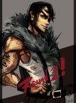 1boy arm_hair beowulf_(skullgirls) black_hair cape facial_hair highres pelt riftka sideburns skullgirls solo stubble suspenders