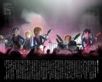 band drum drum_set guitar hirasawa_yui instrument k-on! kotobuki_tsumugi les_paul mustang(guitar) nakano_azusa parody school_uniform speaker tainaka_ritsu text utsui