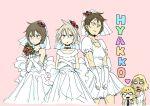 angry bridal_veil bride collar crossdress crossdressing dress flower glasses hyakko kageyama_torako kazamatsuri_touma makunouchi_ushio ooba_minato school_uniform shigetoshisss veil wedding_dress