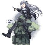 1boy 1girl ak-12_(girls_frontline) anger_vein ankle_boots bangs black_footwear black_pants boots braid closed_eyes commentary deiar009 english_commentary english_text eyebrows_visible_through_hair french_braid fuze_(rainbow_six_siege) girls_frontline gloves helmet highres long_hair long_sleeves military military_uniform open_mouth pants partly_fingerless_gloves rainbow_six_siege silver_hair uniform