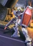 gm_(mobile_suit) gm_cold_districts_type gun gundam gundam_0080 machine_gun mecha raybar shield smoke solo weapon