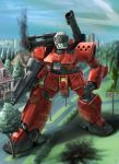 colony_interior gun guncannon guncannon_mp_type gundam gundam_0080 machine_gun mecha raybar smoke solo weapon