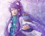 blue_eyes fan headphones headset kamui_gakupo kinoeneko long_hair male ponytail purple_hair smile solo vocaloid