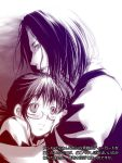1boy 1girl asimov coppelion couple glasses head_on_chest hug looking_up monochrome nomura_taeko short_ponytail sleeves_rolled_up translation_request wakanu
