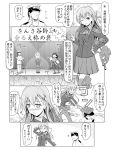 1boy 2girls admiral_(kantai_collection) comic detached_sleeves glasses hair_ornament hairband hairclip highres japanese_clothes kantai_collection kirishima_(kantai_collection) long_hair monochrome multiple_girls nontraditional_miko personification short_hair spaghe suzuya_(kantai_collection)