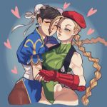 2girls beret black_hair blonde_hair blue_eyes braid cammy_white china_dress chinese_clothes chun-li closed_eyes double_bun dress earrings elbow_gloves fingerless_gloves gloves hat heart hug jewelry leotard lips long_hair multiple_girls muscle muscular_female nappooz one_eye_closed pantyhose red_gloves smile street_fighter twin_braids upper_body