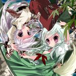 2girls bow dress ex-keine fujiwara_no_mokou hair_bow hair_ribbon horns kamishirasawa_keine kayama_benio long_hair multiple_girls pants red_eyes ribbon silver_hair smile suspenders touhou very_long_hair violet_eyes