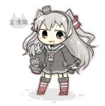 1girl amatsukaze_(kantai_collection) brown_eyes chibi kantai_collection long_hair personification rensouhou-chan silver_hair simple_background solo thigh-highs v white_background yuasan