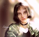 1girl black_hair brown_eyes choker close-up face jewelry leon_the_professional lips looking_at_viewer mathilda_lando realistic rukiana short_hair solo