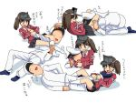 1boy 1girl admiral_(kantai_collection) brown_eyes brown_hair commentary happy hat kantai_collection leg_lock long_hair naval_uniform no_eyes no_shoes open_mouth parody pervert refine ryuujou_(kantai_collection) skirt smile socks submission_hold sweat translation_request twintails uniform visor_cap white_legwear wrestling