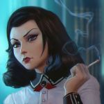 1girl alternate_hairstyle bioshock bioshock_infinite black_hair blue_eyes cigarette elizabeth_(bioshock_infinite) eyebrows eyelashes eyeliner ilya_kuvshinov lips lipstick long_hair looking_at_viewer makeup nose smoking solo