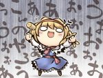 1girl :3 alice_margatroid anger_vein arms_up blonde_hair blue_dress capelet dress hammer long_sleeves nekoguruma o_o sash solo touhou voodoo_doll