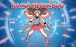blue_(pokemon) brown_hair fusion gameplay_mechanics glowing glowing_eyes kill_la_kill kyoutashan masquerain parody pokemon pokemon_(game) pokemon_frlg red_eyes senketsu-kisaragi senketsu-kisaragi_(cosplay) twitch_plays_pokemon