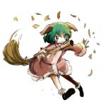 1girl agaryaashika animal_ears blue_eyes blush_stickers broom dress fang foreshortening full_body green_hair holding juliet_sleeves kasodani_kyouko leaf long_sleeves outstretched_arms puffy_sleeves rough short_hair simple_background smile solo spread_arms touhou white_background