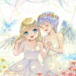2girls ^_^ bird blonde_hair blue_eyes blue_hair braid child closed_eyes dress flower head_wreath long_hair multiple_girls original short_hair smile wings xiangtu