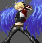 1boy belt black_hair blonde_hair blue_fire cosplay cropped_jacket denim fatal_fury fingerless_gloves fire gloves highres hyde_(under_night_in-birth) jeans mark_of_the_wolves multicolored_hair red_eyes rock_howard rock_howard_(cosplay) rowanism short_hair solo two-tone_hair under_night_in-birth