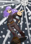 1girl adapted_costume belt bodysuit boots dark_persona dark_sakura disco_ball fate/stay_night fate_(series) flares long_hair matou_sakura purple_hair rowanism solo sunglasses vertical_stripes