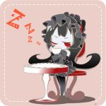 1girl black_hair black_legwear blush_stickers chibi cup gothic_lolita isolated_island_oni kantai_collection lolita_fashion long_hair red_eyes shinkaisei-kan solo takanashi_hiyori teacup wink