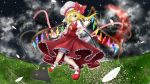 1girl blush bow crescent_moon feathers flandre_scarlet hat hat_bow highres laevatein moon open_hands red_eyes red_moon side_ponytail solo touhou wink wrist_cuffs ymd_(holudoun)