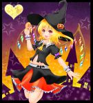 1girl blush doughnut fang flandre_scarlet halloween hat heart jack-o'-lantern navel solo star touhou wings witch_hat wrist_cuffs ymd_(holudoun)