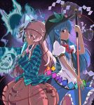2girls back-to-back blue_hair bow bubble_skirt closed_fan covering_mouth fan folding_fan food fox_mask fruit hat hata_no_kokoro hinanawi_tenshi keystone layered_dress leaf long_hair looking_at_viewer mask multiple_girls payot peach pink_eyes pink_hair plaid plaid_shirt profile puffy_short_sleeves puffy_sleeves red_eyes reverse_grip short_sleeves side_glance sleeves_past_wrists star starry_background sword_of_hisou touhou ueshita