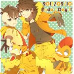 2boys brown_hair character_request clenched_teeth crossover dated dual_persona fudou_akio gloves green_eyes grin highres hoodie inazuma_eleven inazuma_eleven_(series) inazuma_eleven_go long_hair male_focus multicolored_hair multiple_boys pokemon pokemon_(creature) polka_dot polka_dot_background saku_anna scrafty scraggy short_hair smile two-tone_hair