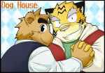 2boys animal_ears bear brown_hair dog_house holding_hands inuinu kemono kemonobito stripes tiger