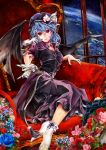 1girl absurdres adapted_costume alternate_color bat_wings blue_hair blue_rose dress earth flower grin hat hat_flower hat_ornament hat_ribbon highres indoors lipstick looking_at_viewer makeup no_shoes pink_rose poyan_noken purple_dress purple_hat red_eyes red_rose remilia_scarlet ribbon rose sash short_hair single_glove sitting slit_pupils smile solo space tagme throne touhou white_legwear wings