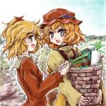 2girls aki_minoriko aki_shizuha blonde_hair dress food fruit grapes hair_ornament hat hat_ornament leaf_hair_ornament long_sleeves looking_at_another multiple_girls nanashii_(soregasisan) onion red_dress short_hair siblings sisters sleeves_past_wrists smile touhou wavy_hair yellow_eyes