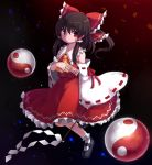 1girl ascot bow brown_hair detached_sleeves frilled_skirt frills gohei hair_bow hair_tubes hakurei_reimu highres mary_janes ofuda orb petals red_eyes ribbon-trimmed_sleeves ribbon_trim rizento shoes skirt sky star_(sky) starry_sky touhou yin_yang