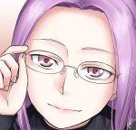 1girl fate_(series) glasses gradient gradient_background happy hone_koppunn lips long_hair looking_at_viewer pullover purple_hair red_eyes rider sketch smile solo tagme