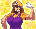 1girl breasts brown_hair coin eyeshadow flexing genderswap gloves grin hat large_breasts makeup muscle nintendo overalls pointy_ears pose smile space_jin super_mario_bros. wario