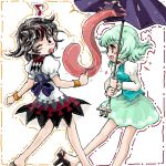 2girls black_hair blue_hair horns japanese_clothes karakasa_obake kijin_seija long_sleeves looking_at_another looking_over_shoulder miniskirt multicolored_hair multiple_girls nanashii_(soregasisan) pointy_ears puffy_long_sleeves puffy_short_sleeves puffy_sleeves red_eyes redhead sandals short_hair short_sleeves skirt skirt_set smile tatara_kogasa tongue tongue_out touching touhou umbrella walking yellow_eyes
