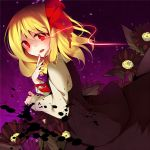 1girl ascot blonde_hair bow dark flower from_side glowing glowing_eye hair_bow looking_at_viewer red_eyes rumia solo tamagogayu1998 touhou