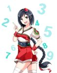 1 1girl 2 3 4 5 6 8 9 black_eyes black_hair braid character_request copyright_request eyelashes hair_ornament happy japanese_clothes long_hair looking_at_viewer number open_mouth ponytail smile solo standing tagme thigh-highs trex97 very_long_hair wrist_cuffs