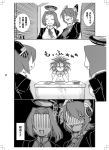2girls admiral_(kantai_collection) comic desk door eyepatch headgear kantai_collection messy_hair monochrome multiple_girls okapi_kingdom personification school_uniform short_hair tatsuta_(kantai_collection) tenryuu_(kantai_collection) translation_request