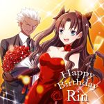 1boy 1girl alcohol archer blue_eyes brown_hair champagne dark_skin dress elbow_gloves fate/stay_night fate_(series) gloves hair_ribbon happy_birthday holiday-jin red_dress ribbon strapless_dress tohsaka_rin toosaka_rin two_side_up white_hair