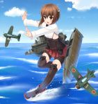 1girl airplane bike_shorts brown_eyes brown_hair fairy_(kantai_collection) headband headgear kantai_collection momiji7728 open_mouth personification short_hair skirt solo taihou_(kantai_collection) thigh-highs water