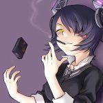 1girl cigarette cigarette_box eyepatch headgear kantai_collection nagaoka_kenzou necktie short_hair simple_background smirk smoke smoking tenryuu_(kantai_collection) yellow_eyes
