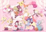 2girls 3boys arceus balloon basketball bel_(pokemon) black_hair blonde_hair book brown_hair casual celebi cheren_(pokemon) darkrai deoxys diancie dress genesect glasses green_hair jirachi kabocha_torute keldeo manaphy meloetta mew multiple_boys multiple_girls n_(pokemon) phione pikachu pikachu_(cameo) pink pink_background pokemon pokemon_(creature) pokemon_(game) pokemon_bw reading shaymin shorts sleeping touko_(pokemon) touya_(pokemon) victini younger