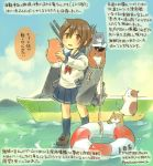 admiral_(kantai_collection) artist_self-insert boat brown_eyes brown_hair clouds colored_pencil_(medium) folded_ponytail inazuma_(kantai_collection) innertube kantai_collection kirisawa_juuzou long_sleeves multiple_girls neckerchief personification pleated_skirt school_uniform serafuku skirt sky traditional_media translation_request