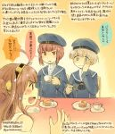 3girls :d bare_shoulders baumkuchen blue_eyes brown_hair cake colored_pencil_(medium) cup double_bun eating food fork hairband hand_on_own_cheek hand_on_own_face hat headgear japanese_clothes kantai_collection kirisawa_juuzou kongou_(kantai_collection) long_hair multiple_girls neckerchief nontraditional_miko open_mouth personification sailor_dress sailor_hat short_hair smile teacup traditional_media translation_request z1_leberecht_maass_(kantai_collection) z3_max_schultz_(kantai_collection)