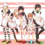 5boys alternate_costume amamiya_hibiya apron black_hair black_legwear blonde_hair blue_eyes bow brown_hair crossdressing green_eyes kagerou_project kano_shuuya kisaragi_shintarou kneehighs konoha_(kagerou_project) long_hair maid maid_headdress multiple_boys negi_(ngng_9) pantyhose red_eyes ribbon seto_kousuke short_hair short_ponytail silver_hair striped striped_legwear thigh-highs white_legwear