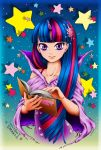 1girl arinko_(sugolife) blue_hair book character_name dress hair_ornament hands highres holding horn long_hair looking_at_viewer multicolored_hair my_little_pony my_little_pony_friendship_is_magic open_book personification pink_hair popped_collar purple_dress smile solo sorceress star twilight_sparkle two-tone_hair violet_eyes wide_sleeves