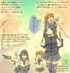 5girls :d akatsuki_(kantai_collection) blue_eyes brown_eyes brown_hair cherry_blossoms colored_pencil_(medium) eyepatch folded_ponytail hair_ornament hairclip hat headgear hibiki_(kantai_collection) ikazuchi_(kantai_collection) inazuma_(kantai_collection) kantai_collection kirisawa_juuzou long_hair long_sleeves multiple_girls neckerchief open_mouth pantyhose personification pleated_skirt purple_hair purple_legwear school_uniform serafuku short_hair silver_hair skirt skirt_lift smile tenryuu_(kantai_collection) thigh-highs traditional_media translated yellow_eyes zettai_ryouiki