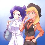 2girls applejack bag belt blonde_hair blue_eyes blue_hair blush cowboy_hat dress earrings green_eyes hand_in_pocket hat jewelry long_hair long_sleeves megarexetera multiple_girls my_little_pony my_little_pony_friendship_is_magic orange_shirt pants personification ponytail rarity shirt smile vest white_dress