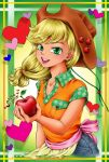 1girl :d apple applejack argyle arinko_(sugolife) blonde_hair character_name cowboy_hat denim food food_themed_clothes freckles fruit green_background green_eyes hat heart highres holding jeans long_hair looking_at_viewer my_little_pony my_little_pony_friendship_is_magic open_mouth personification shirt smile solo